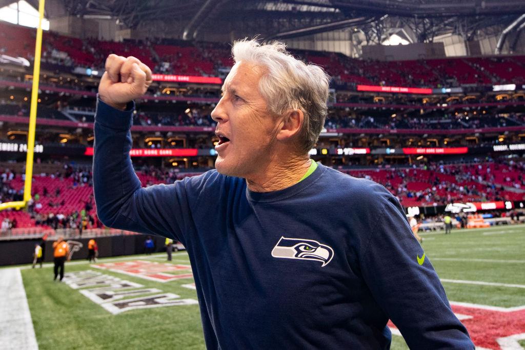 Head coach Pete Carroll of the Seattle Seahawks reacts following a win