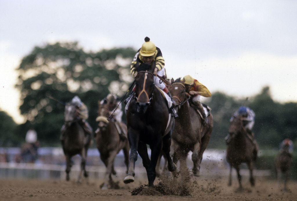 Jockey Jean Grugent sits atop of Seattle Slew racing to win the Triple Crown in 1977