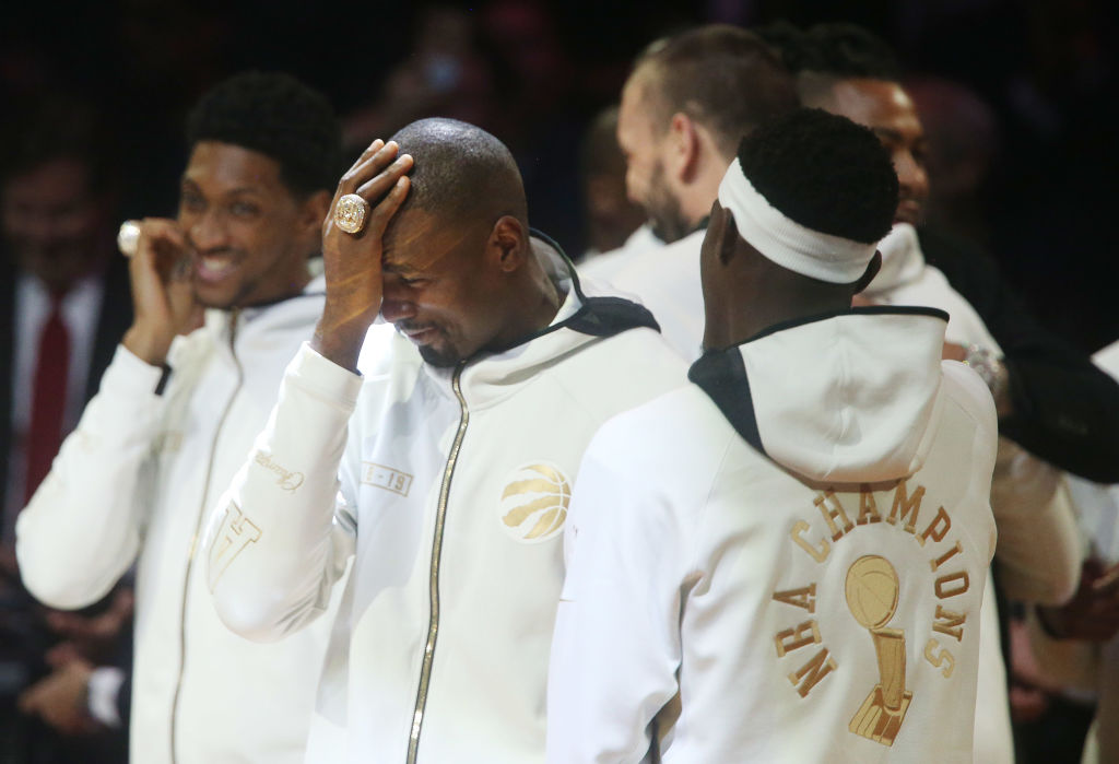 Serge Ibaka (middle) won the NBA Finals with the Raptors in 2019, but he's not satisfied with one title.
