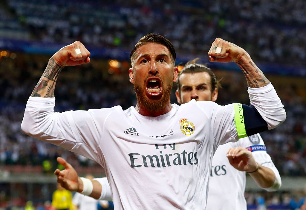Sergio Ramos celebrating a goal for Real Madrid