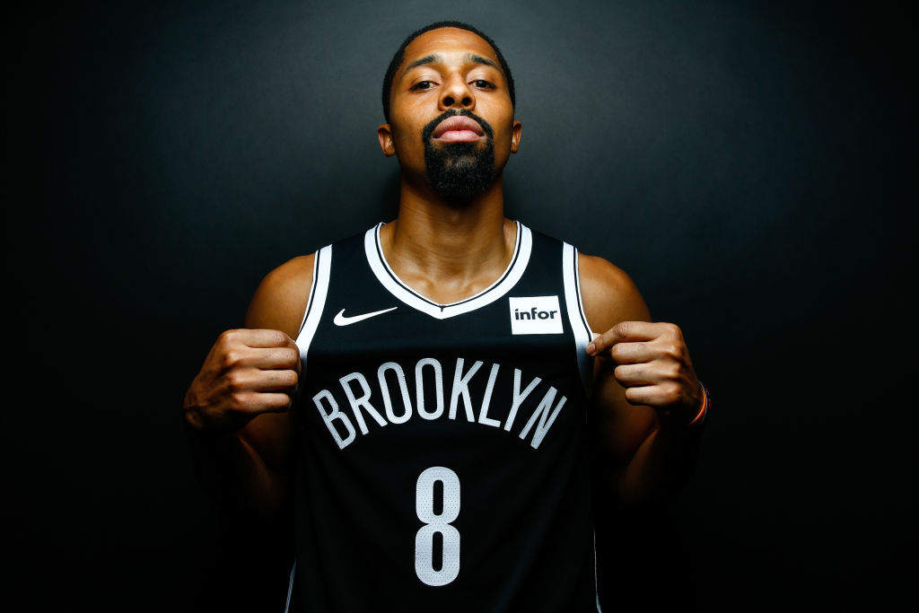 Nets' guard Spencer Dinwiddie poses for a team photo.