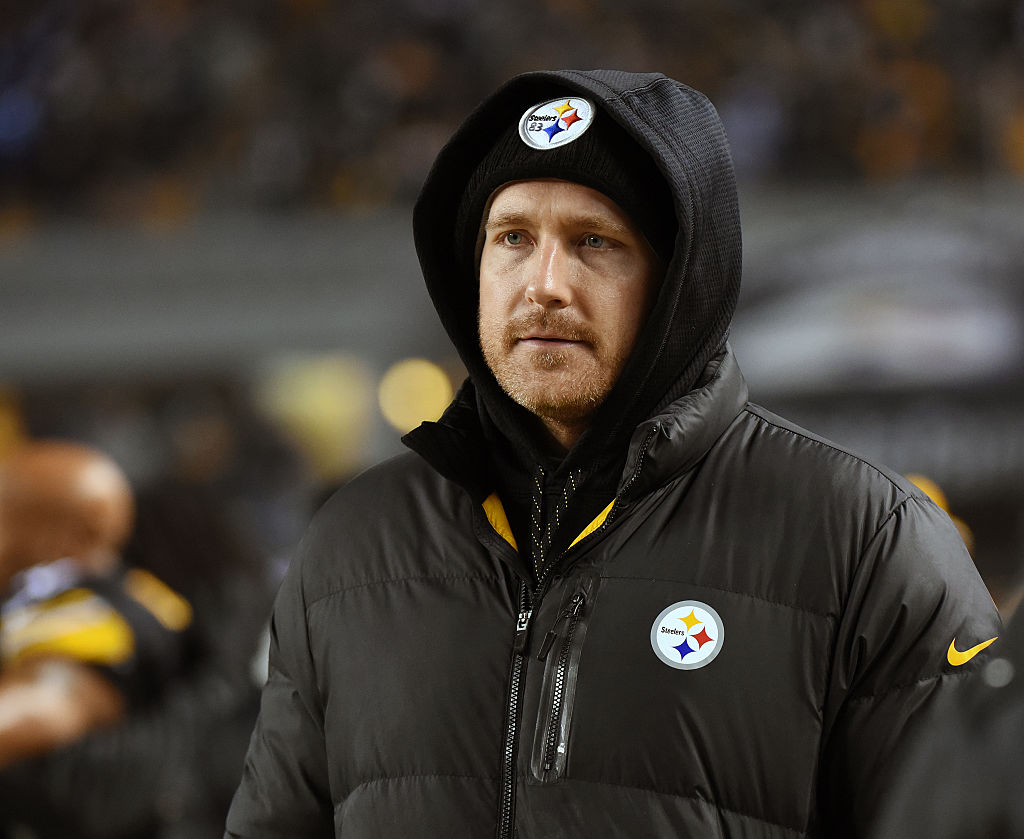 Injured tight end Heath Miller of the Pittsburgh Steelers looks on from the sideline
