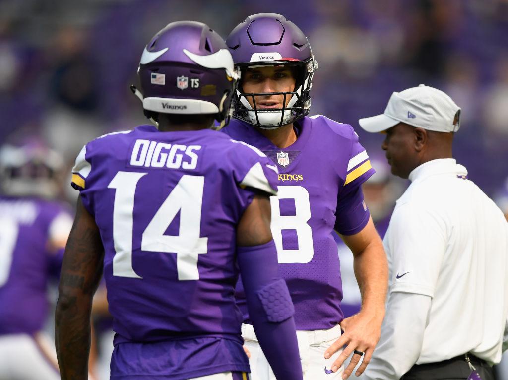 Stefon Diggs and Kirk Cousins the Minnesota Vikings speak during warmup