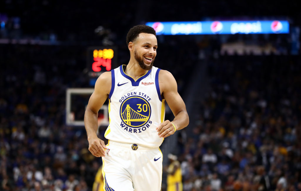 Stephen Curry of the Golden State Warriors competes