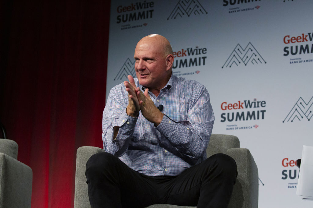 Steve Ballmer, chairman of the Los Angeles Clippers speaks at a summit