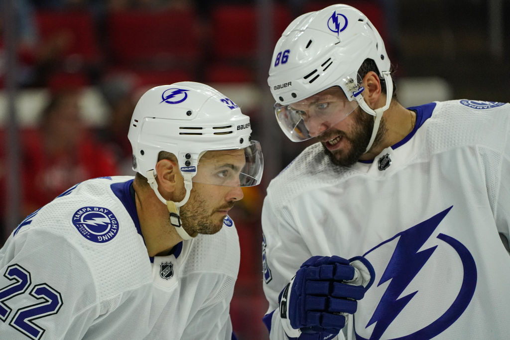 Two Tampa Bay Lightning talk strategy on the ice.