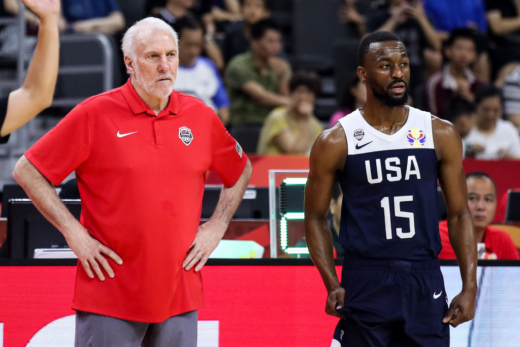 The Team USA roster at the 2020 Olympics could look drastically different than the one from the 2019 FIBA World Cup, but coach Gregg Popovich (left) and Kemba Walker (right) are virtual locks.