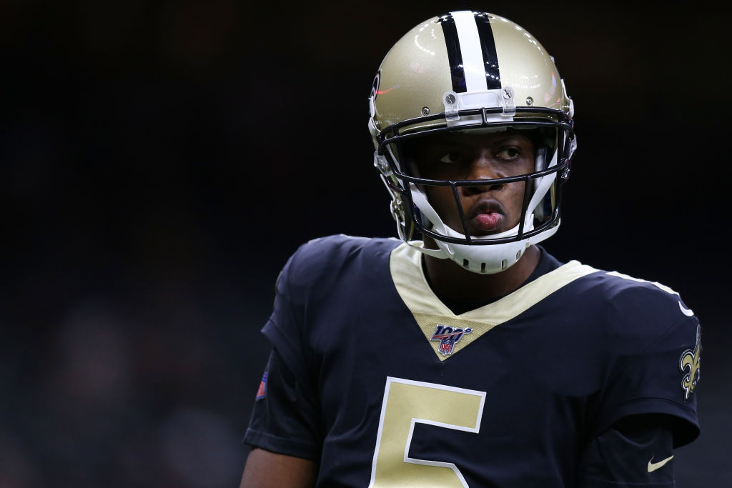 Saints' quarterback Teddy Bridgewater about to call a play.
