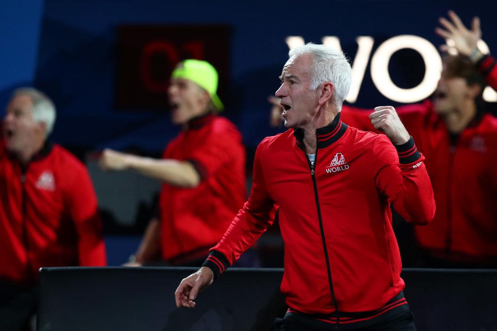 John McEnroe celebrates during a singles match