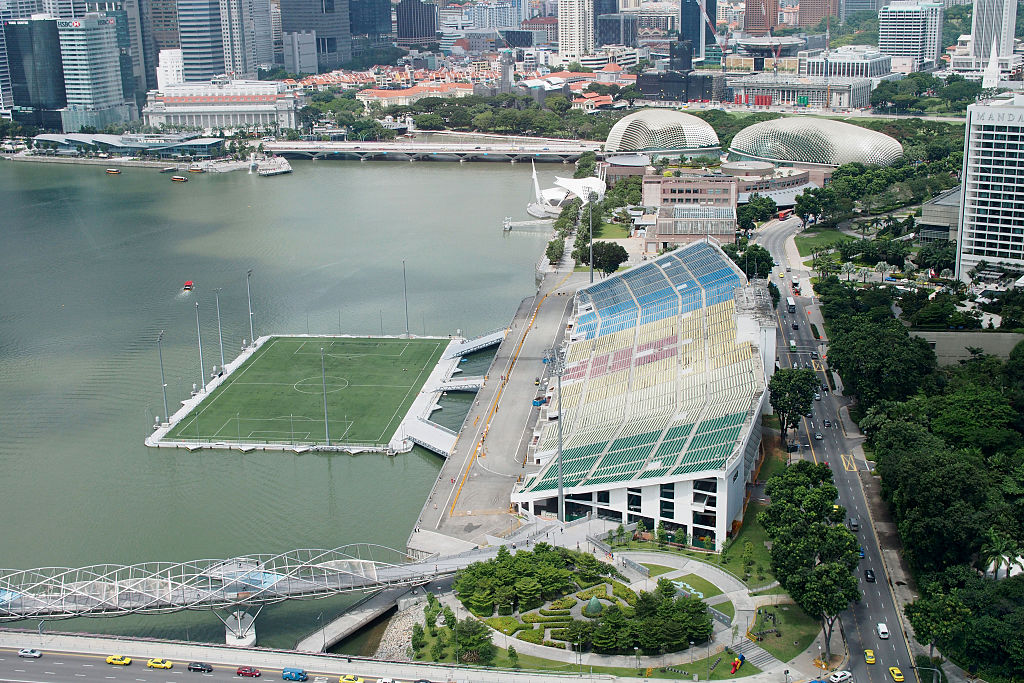 An aerial view of The Float and Seating Gallery at Marina Bay in Singapore