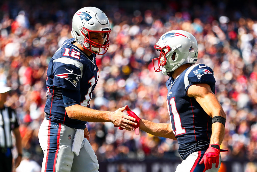 Despite the big wins so far in 2019, Tom Brady (left), Julian Edelman, and the Patriots' offense have flaws.
