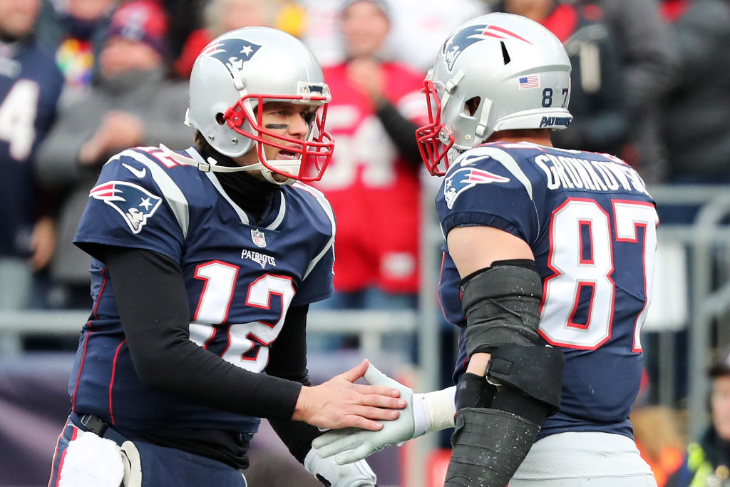 Patriots quarterback Tom Brady and former tight end Rob Gronkowski