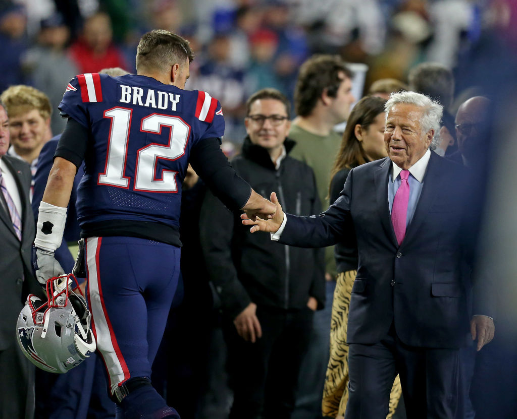 Tom Brady #12 of the New England Patriots and Robert Kraft