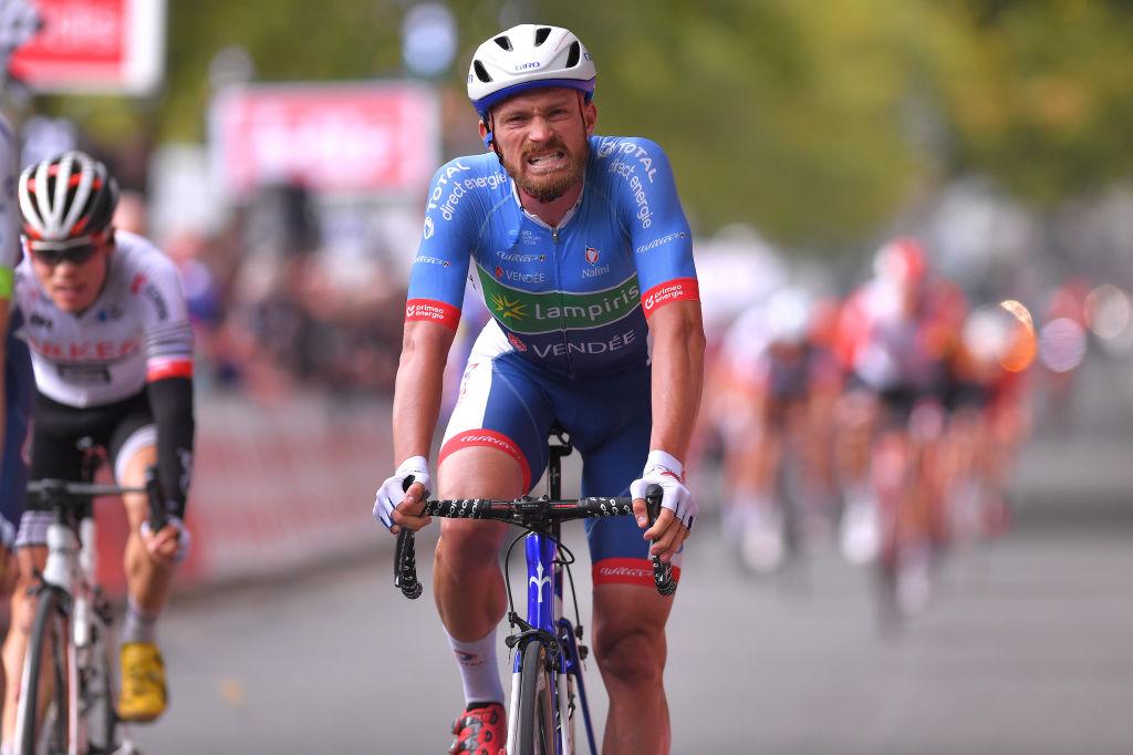Adrien Petit of France bikes in the Tour de France
