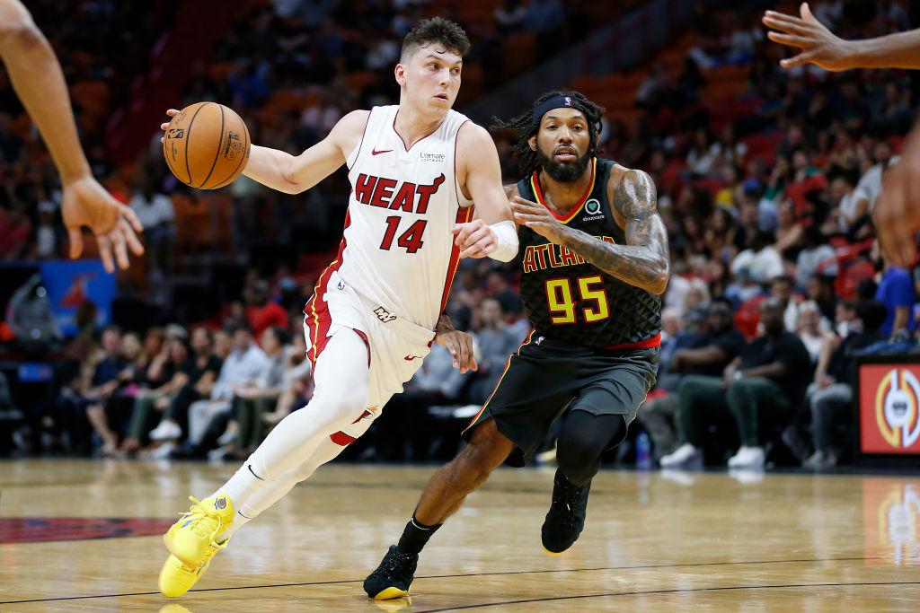 Miami Heat's rookie guard Tyler Herro driving to the basket.