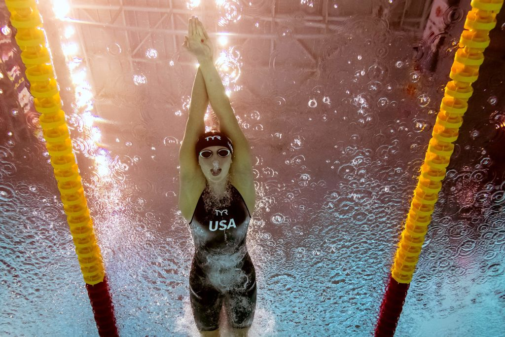 USA's Katie Ledecky competes in the final of the women's 800m freestyle