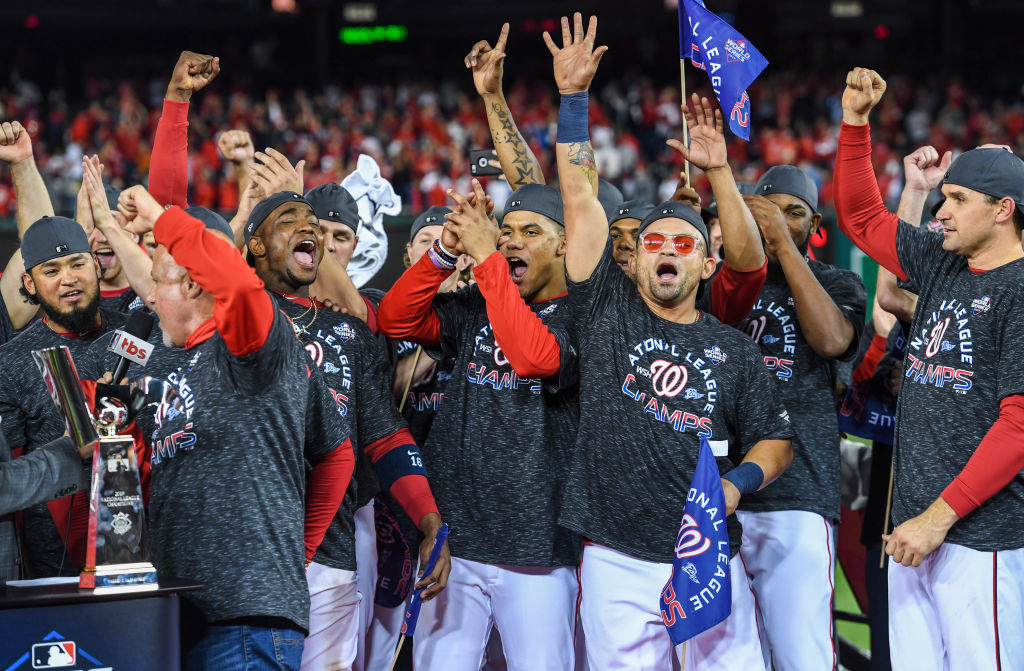 The Washington Nationals celebrate making it into the World Series, even without Bryce Harper.