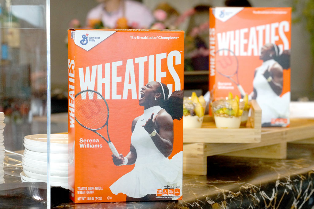 Serena Williams on a box of Wheaties cereal.