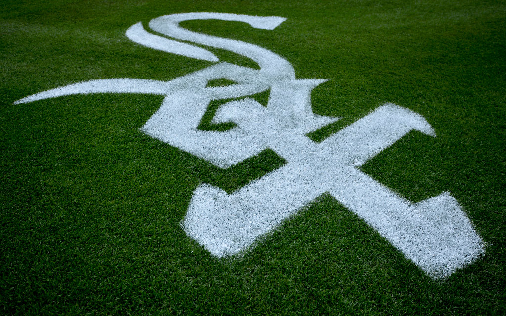 The Chicago White Sox logo painted onto the field.
