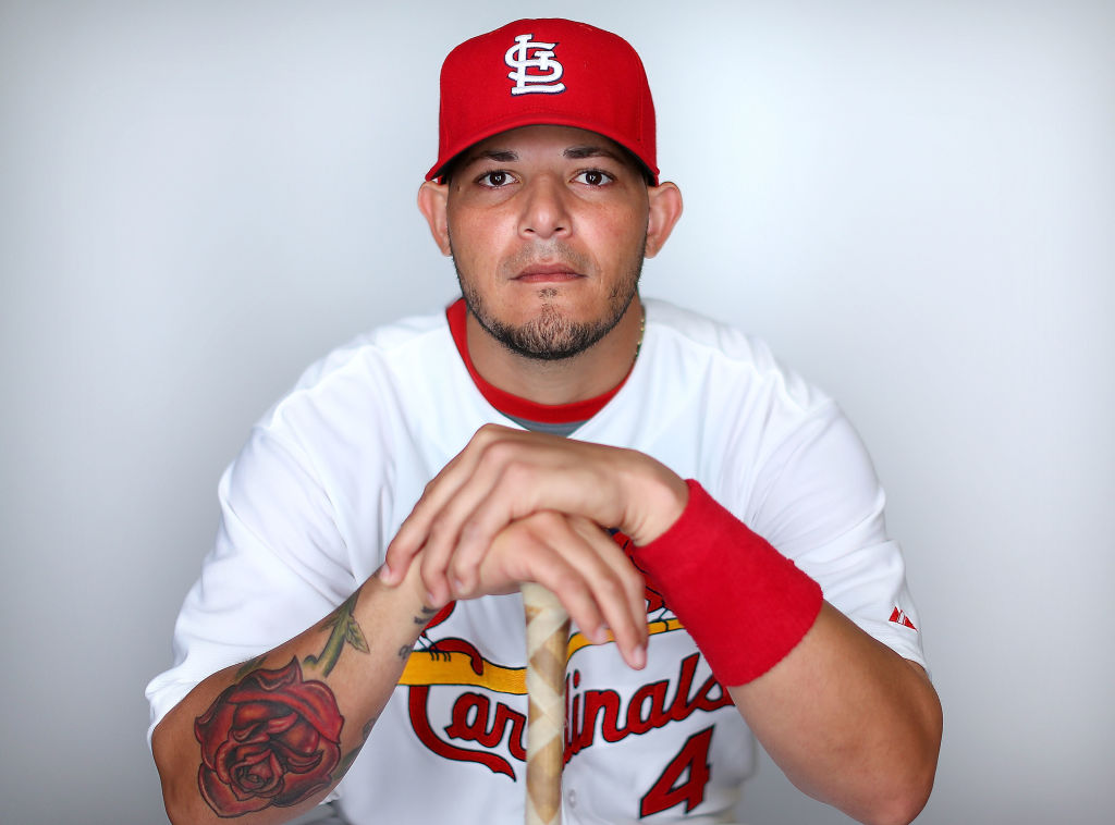Cardinals' catcher Yadier Molina at a photo shoot for the team