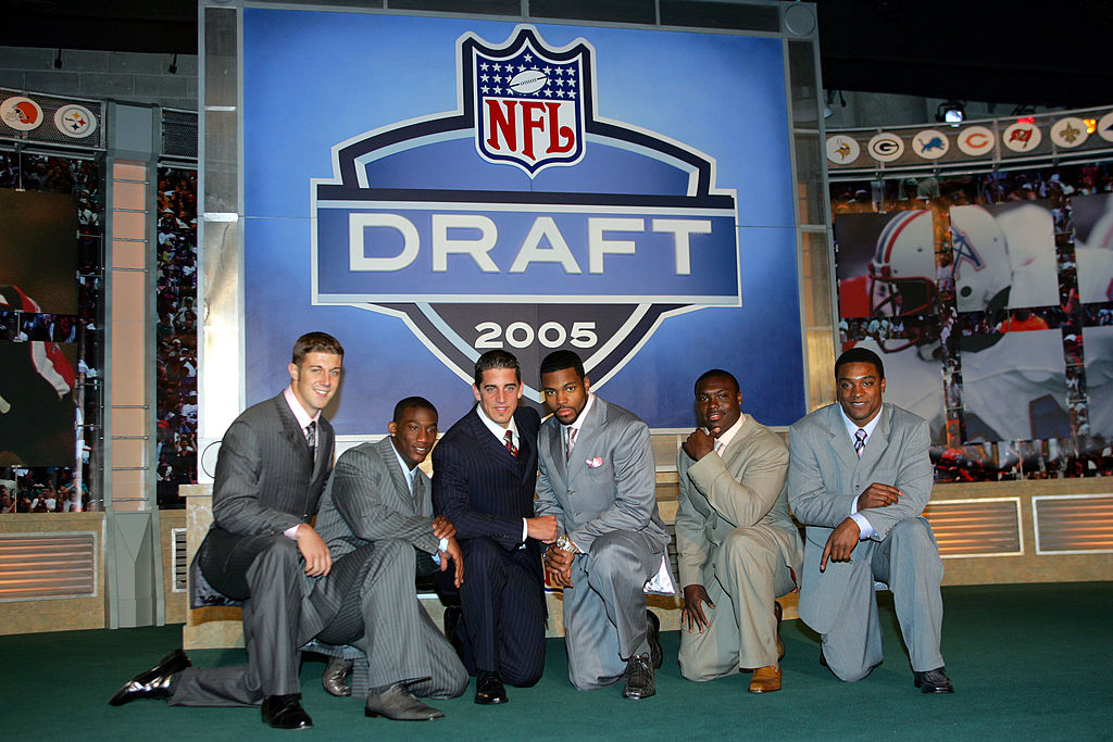 The 2005 NFL Draft: (L-R) Alex Smith, Antrel Rolle, Aaron Rodgers, Braylon Edwards, Ronnie Brown, and Cedric Benson