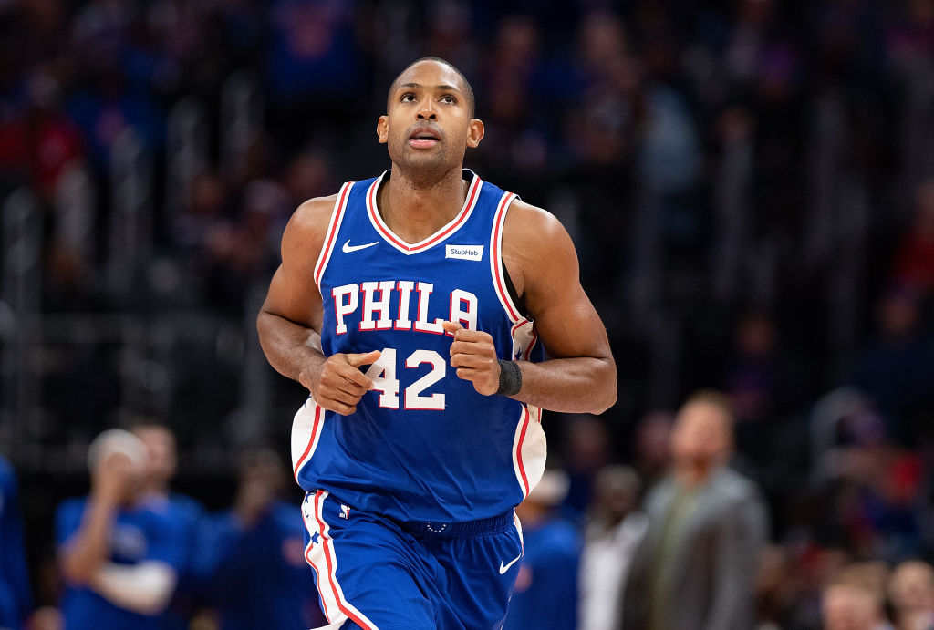 Al Horford #42 of the Philadelphia 76ers runs up the court