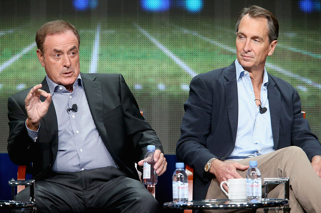Al Michaels and Cris Collinsworth work together on Sunday Night Football.