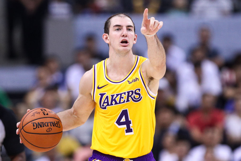 Alex Caruso of the Lakers calls out a play.