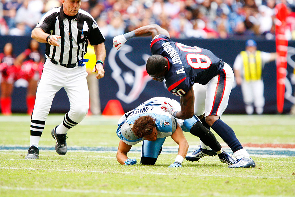 Houston Texans wide receiver Andre Johnson and Tennessee Titans cornerback Cortland Finnegan get into a 2010 fight