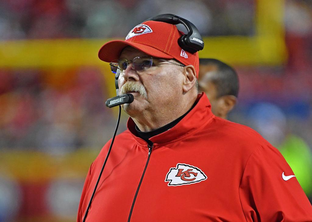 Head coach of the Kansas City Chiefs, Andy Reid looks on.