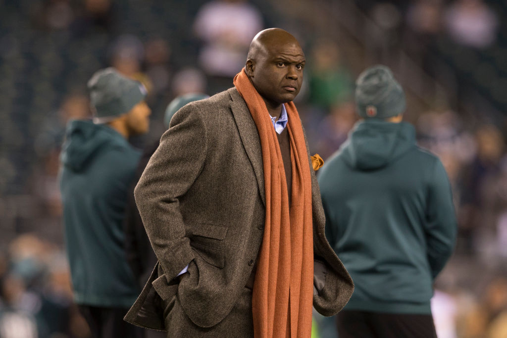Broadcaster Booger McFarland works on ESPN's Monday Night Football broadcast.