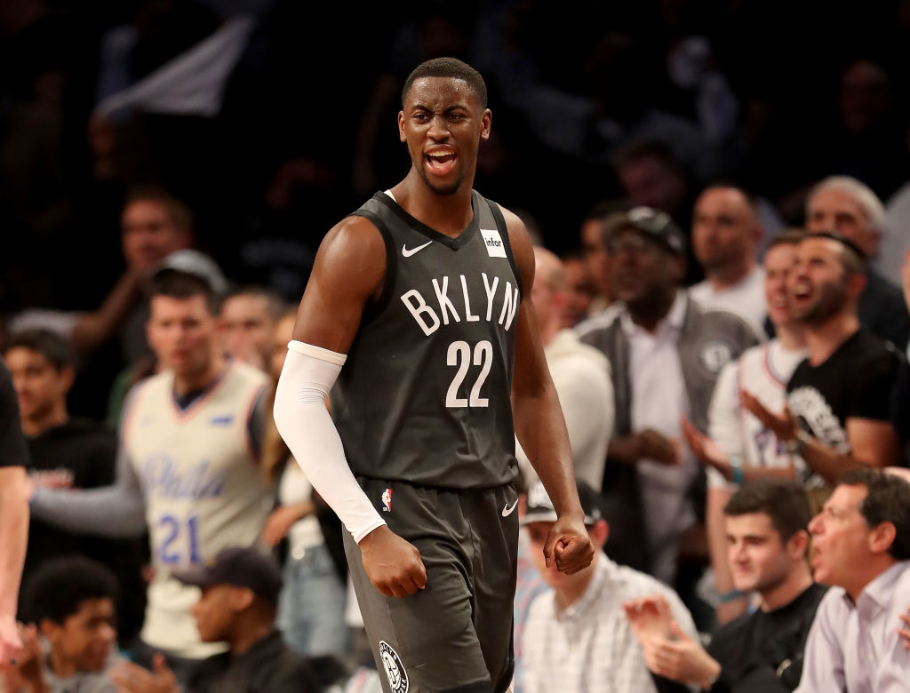 Caris LeVert of the Brooklyn Nets reacts in the first half