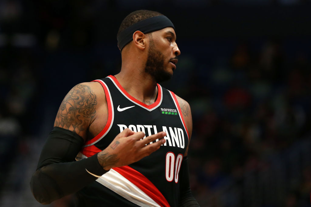 Carmelo Anthony made his Portland Trail Blazers debut Tuesday night.
