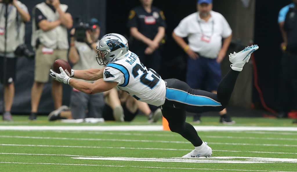 Christian McCaffrey was made in the mold of one Hall of Fame running back, according to 49ers coach Kyle Shanahan.