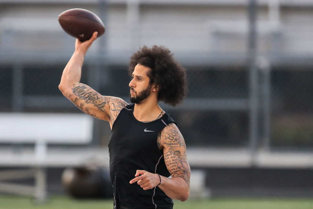Colin Kaepernick throwing passes at his own NFL workout