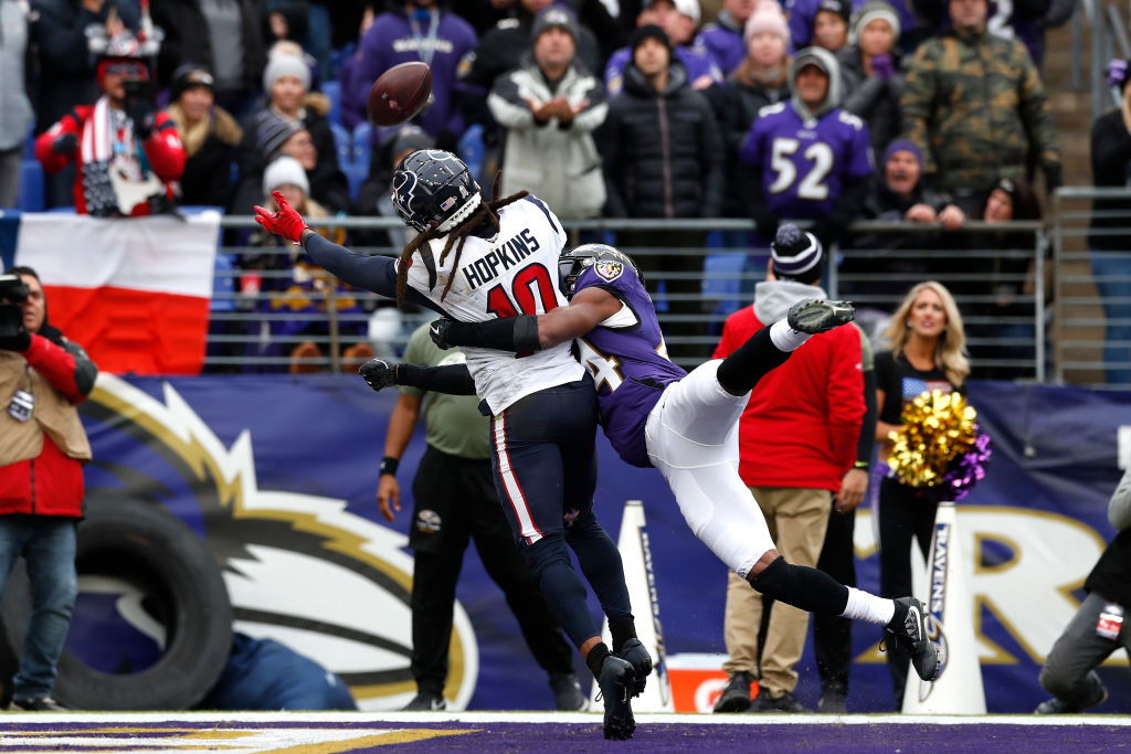 Texans receiver DeAndre Hopkins was potentially interfered with in a game against the Baltimore Ravens.
