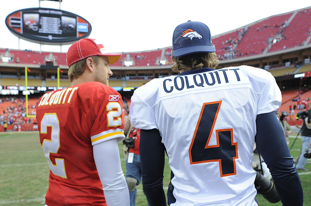 Denver Broncos punter Britton Colquitt and his brother Kansas City Chiefs punter Dustin Colquitt after a game