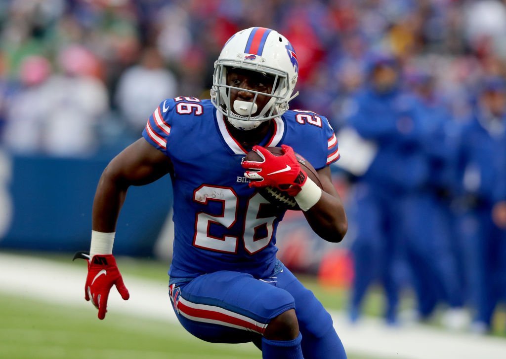 Devin Singletary #26 of the Buffalo Bills runs the ball