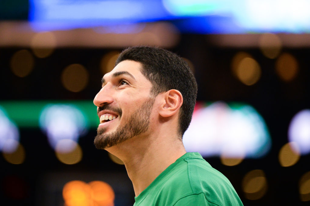 Enes Kanter of the Boston Celtics smiles during warmups