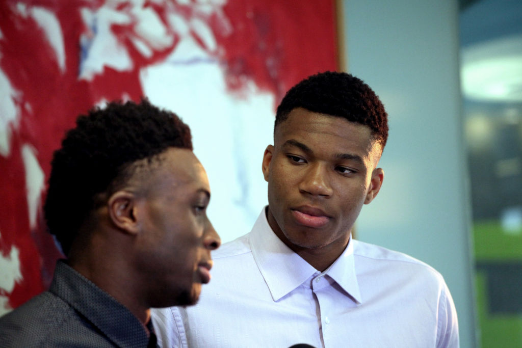 Giannis and Thanasis Antetokounmpo at the Onassis Cultural Center in Athens, Greece