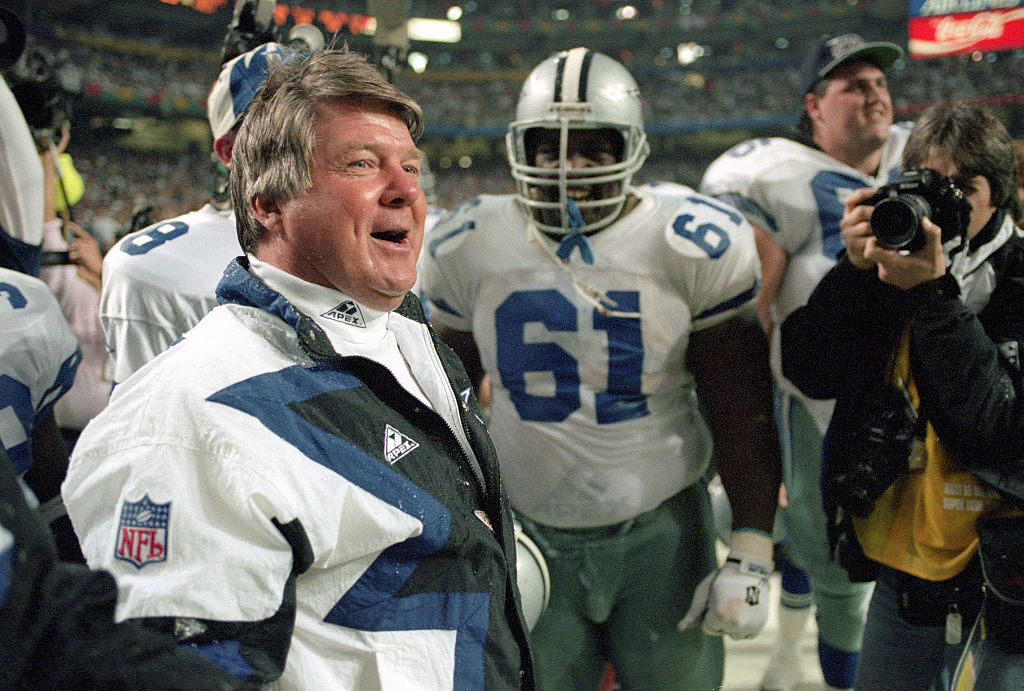 Head coach Jimmy Johnson of the Dallas Cowboys celebrates as they defeat the Buffalo Bill in Super Bowl XXVIII