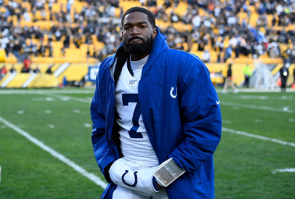 Jacoby Brissett #7 of the Indianapolis Colts walks off the field
