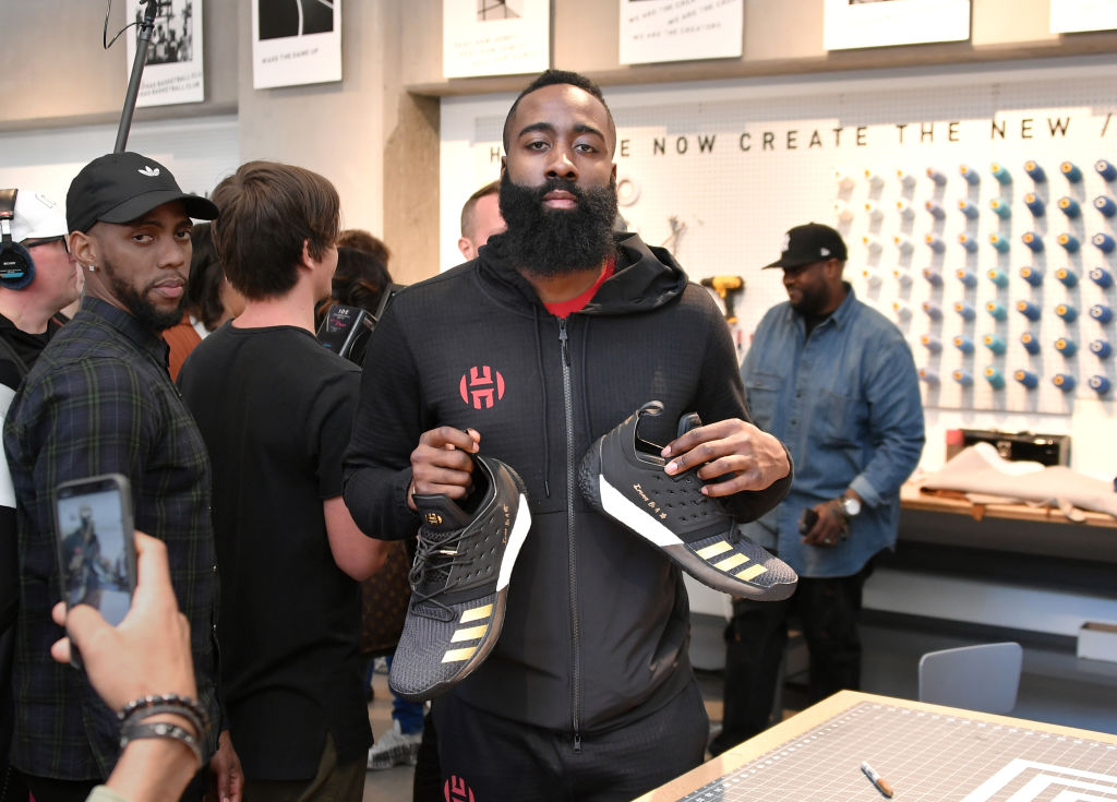 NBA star James Harden at an Adidas shoe event.