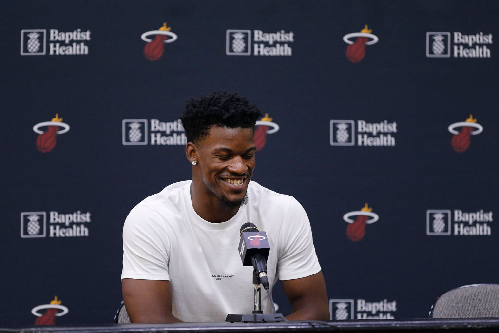 Jimmy Butler at a Miami Heat press confrence