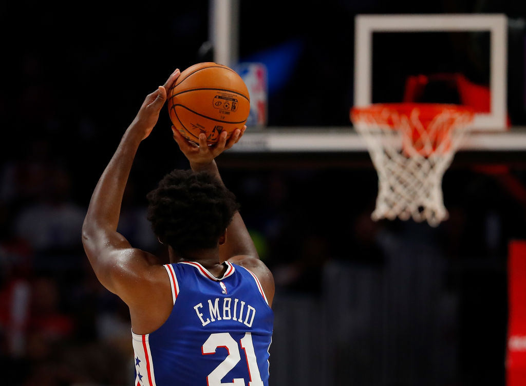 Joel Embiid #21 of the Philadelphia 76ers shoots a three-point basket