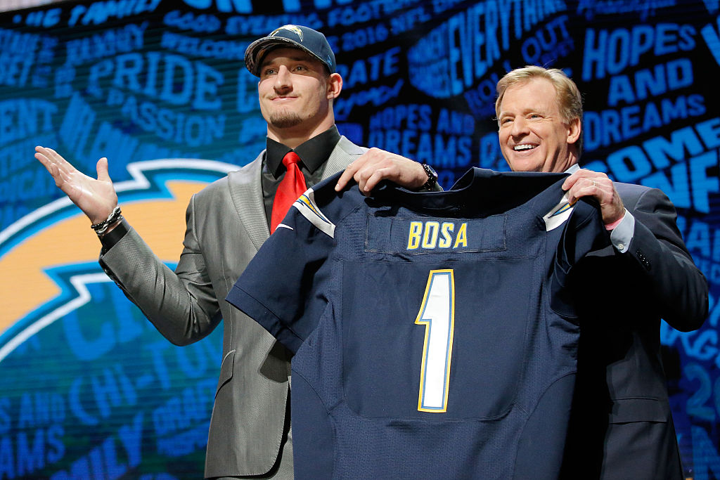 Joey Bosa (pictured) and younger brother Nick Bosa are tearing up NFL offenses.