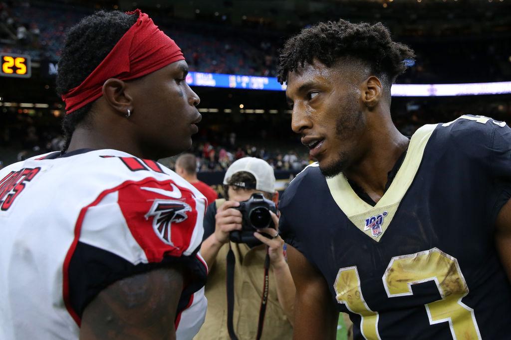 Falcons wide receiver Julio Jones and Saints wide receiver Michael Thomas