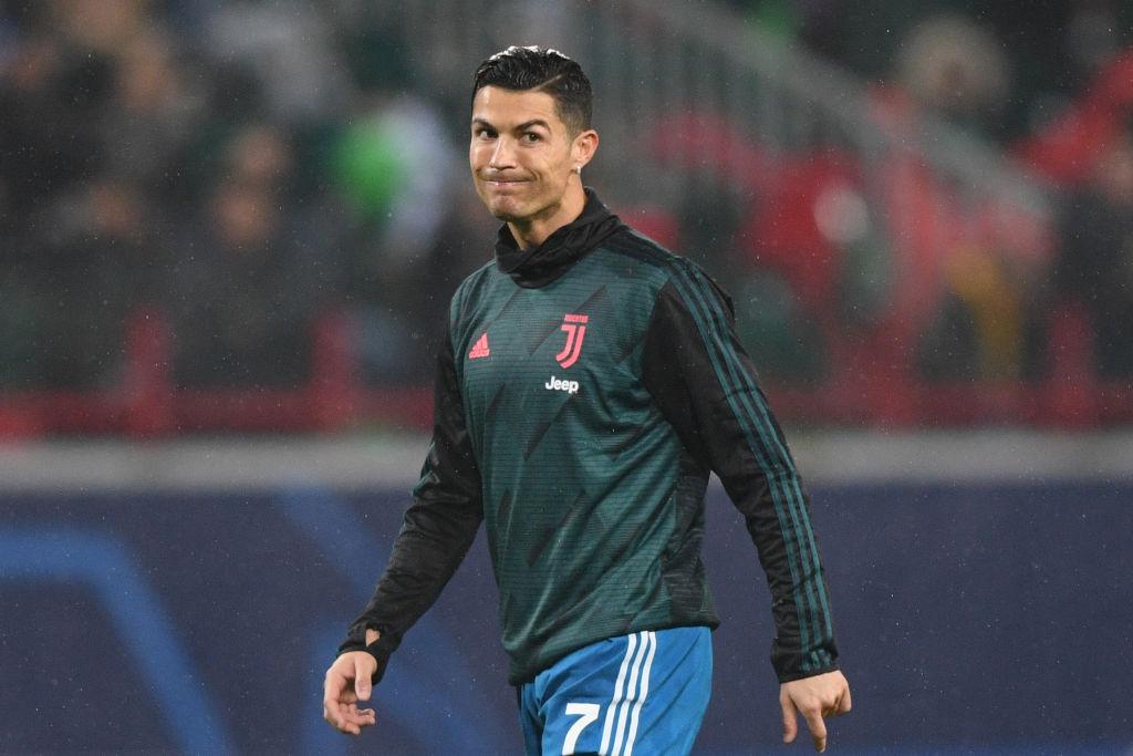 Juventus' Portuguese forward Cristiano Ronaldo warms up prior to a game