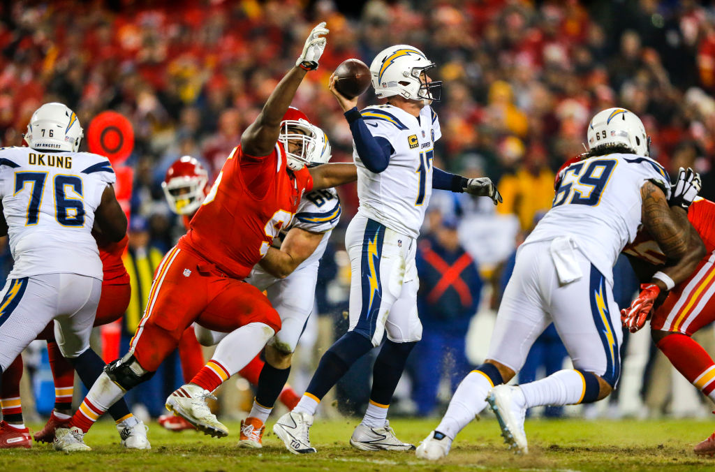 Defensive end Chris Jones of the Kansas City Chiefs pressures quarterback Philip Rivers of the Los Angeles Chargers