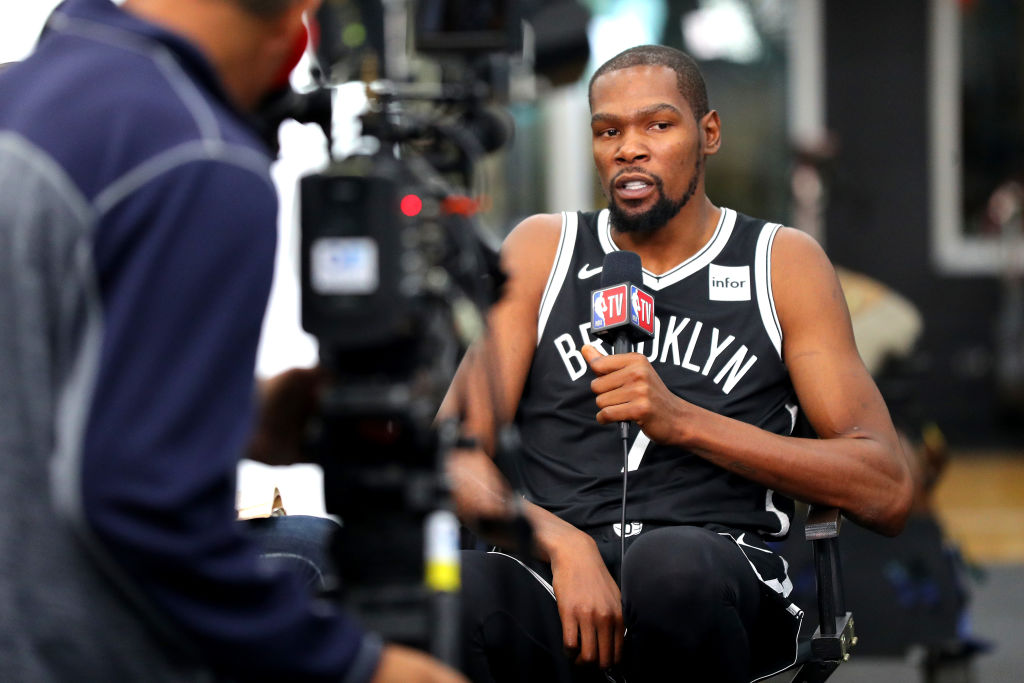 Kevin Durant of the Brooklyn Nets speaks to media during Brooklyn Nets Media Day